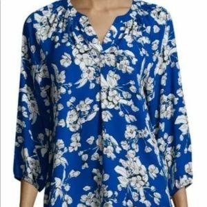 Ivanka Trump Loose Blue Floral Blouse Top $69 MSRP